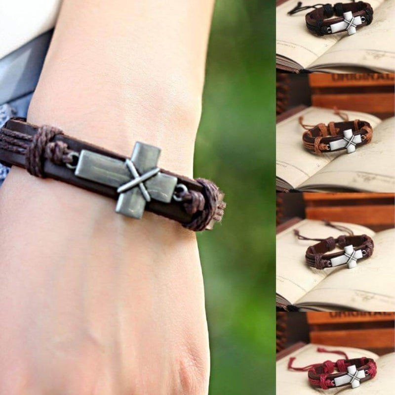 UNISEX Super Cool Cross Tribal Style Stylish Sideways Arm Cross Bracelet