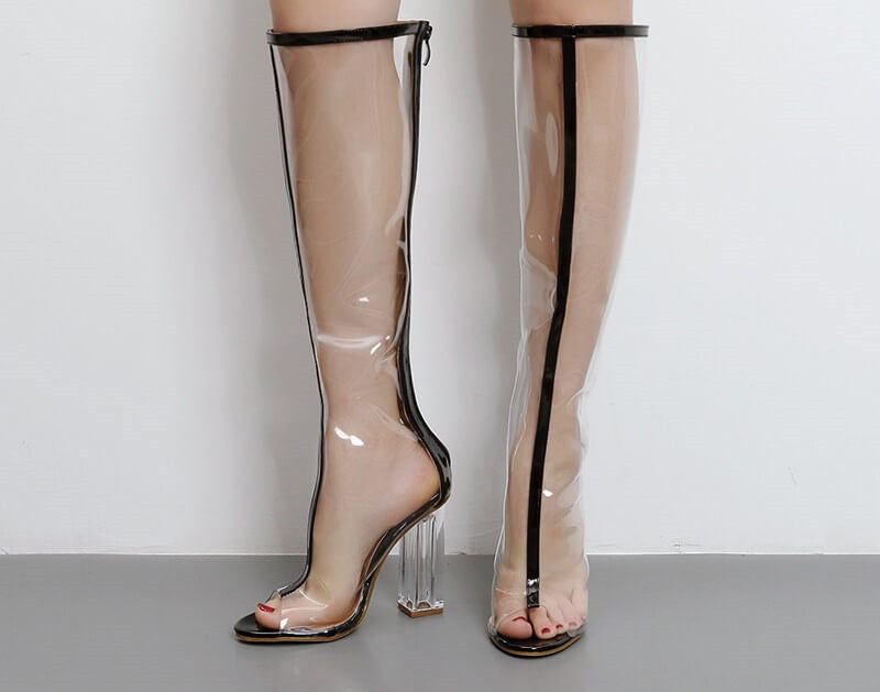 Clear knee boots