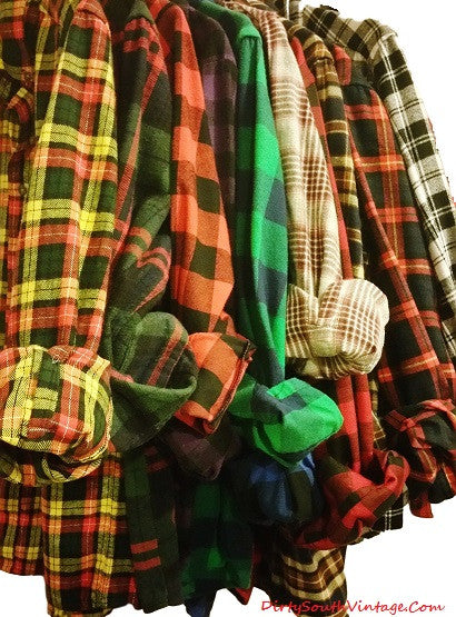 Mystery Vintage Unisex Flannel Shirts - Pick Your Size & Colors