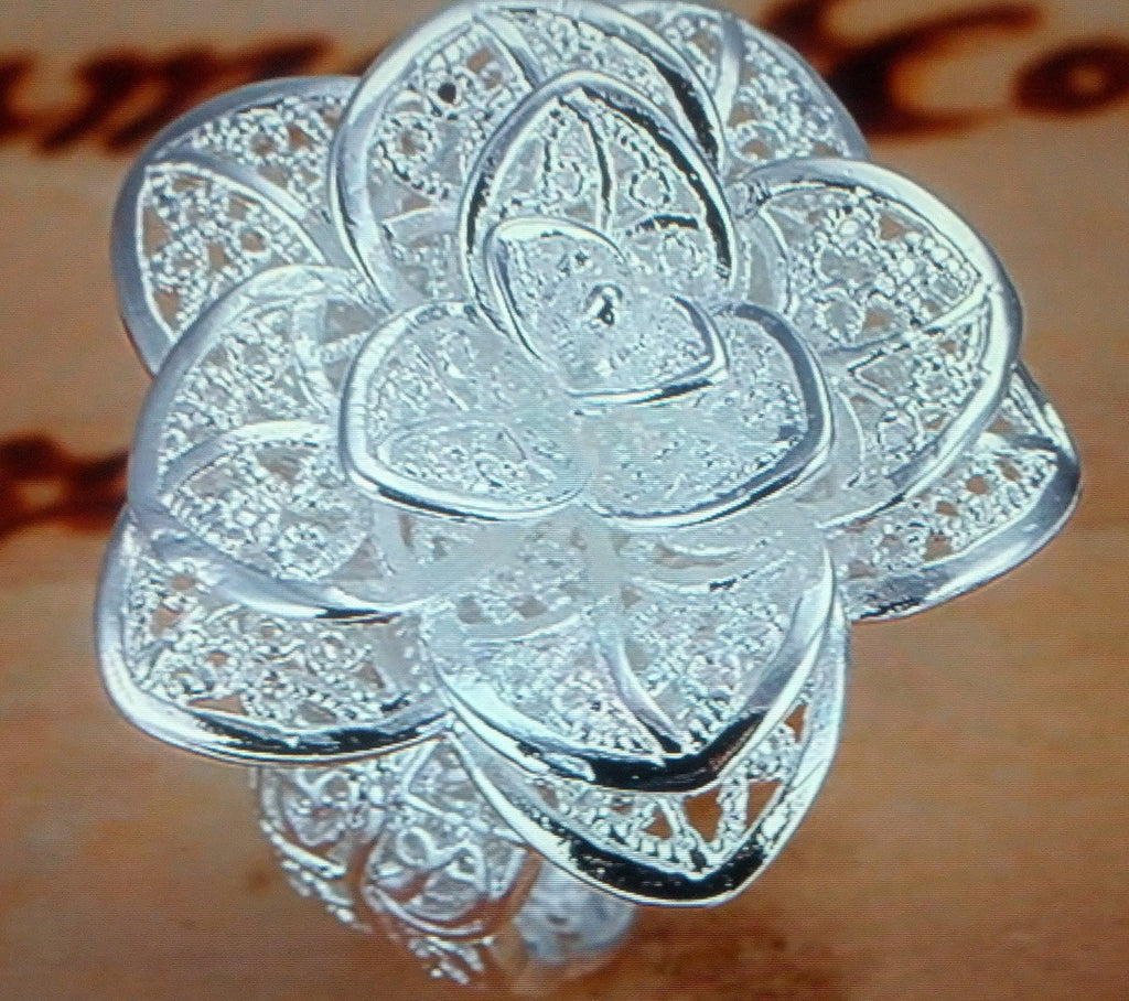 Womans 925 Silver Sterling Plated Rose Ring