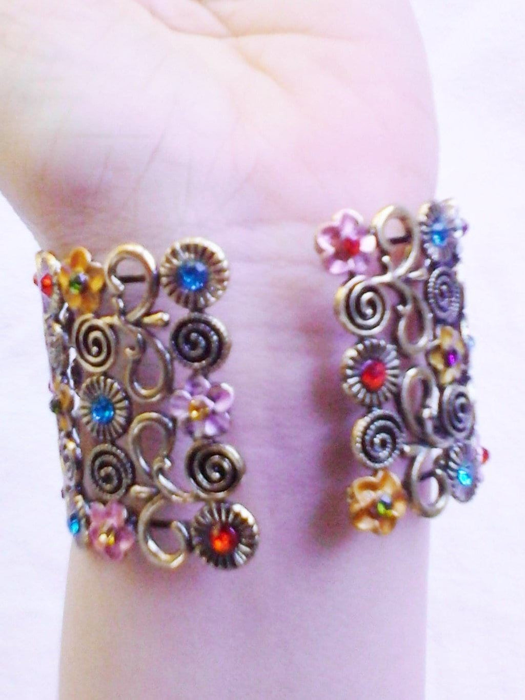 Multi Color Ladies Womans Beautiful Watch Flower Cuff Bangel Jewelry Bracelet