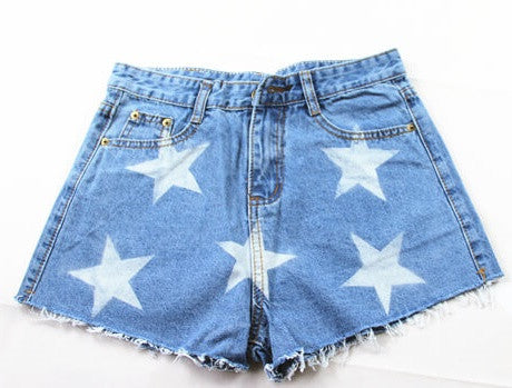 Stars, High Waist Shorts, All Sizes