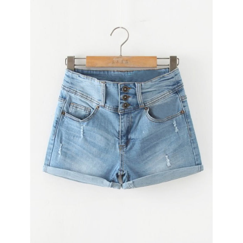 Cuffed Denim Shorts.