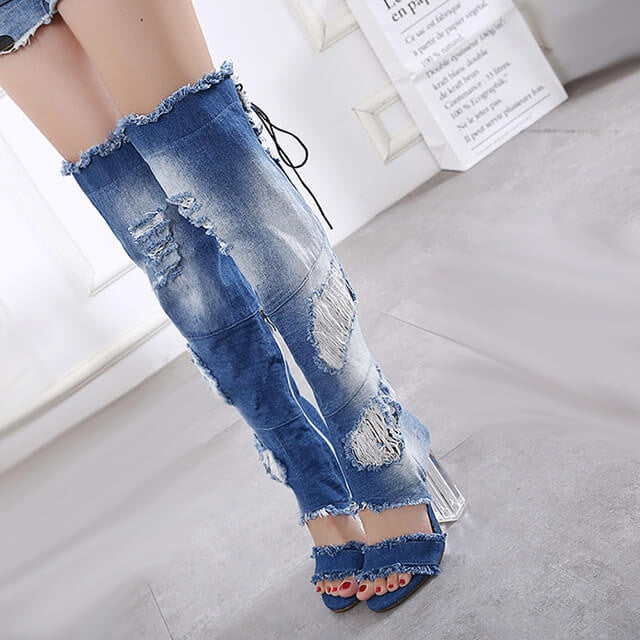 Denim Dreams Knee High Shoes, All sizes