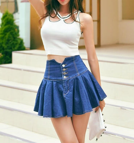 The Denim Cheerleader Skirt Super Cute, All Sizes