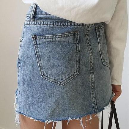 Distressed Vintage Inspired Grunge Style Denim Skirts, All Sizes