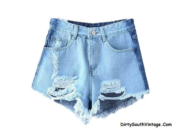 Denim DISTRESSED High Waisted Shorts Two Tone, Super Cute & Sexy For Summer!! All Sizes