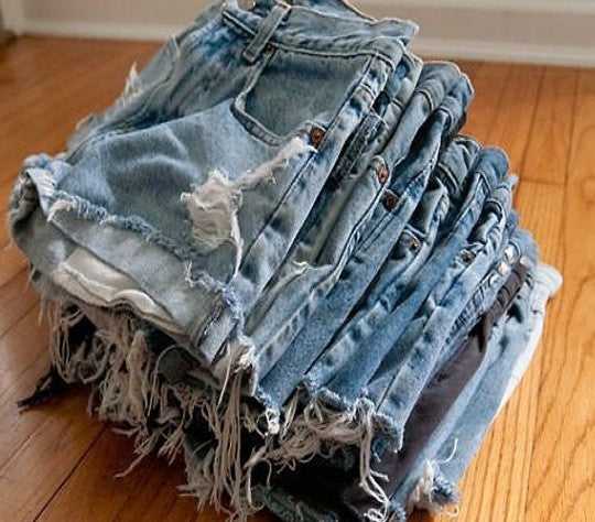 Distressed High Waisted Shorts, Sexy Mystery Denim Cutoffs.