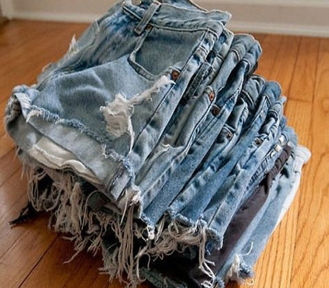 SALE-Mystery DISTRESSED High Waisted Shorts, Sexy Denim Cutoffs