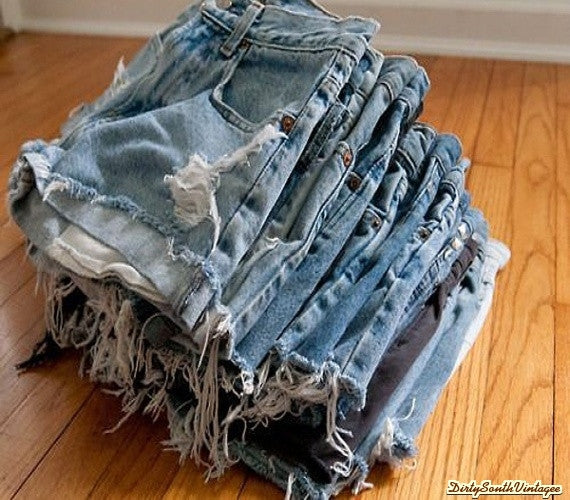 Sale- Mystery DISTRESSED High or Low Waisted Shorts / Sexy Denim: All Sizes