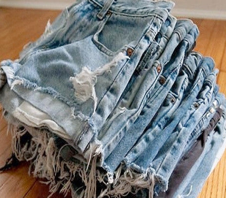 Mystery DISTRESSED High Or Low Waisted Denim Shorts