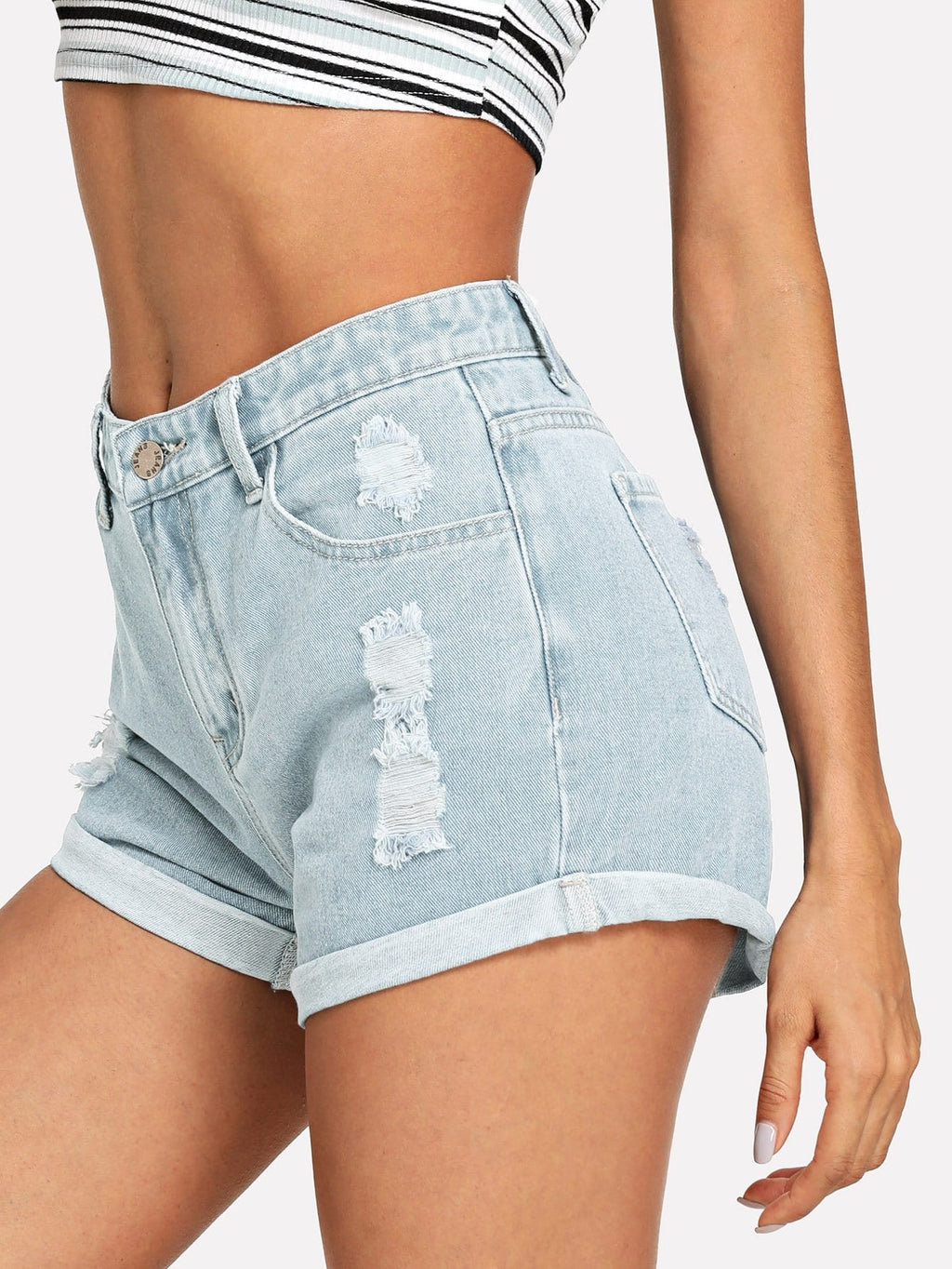 Bleach-Dye Ripped Rolled Hem Shorts