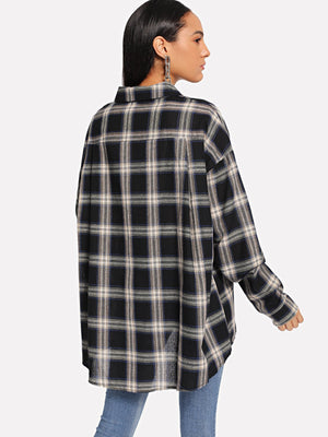 Plaid Curved Hem Shirt