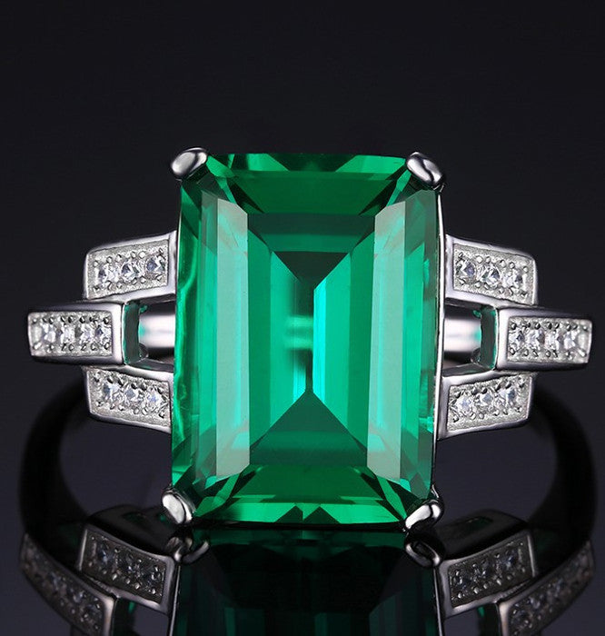 9.25 Lab Created Emerald Ring, All Sizes