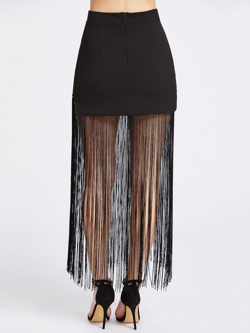 Fringe Hem Zipper Back Skirt