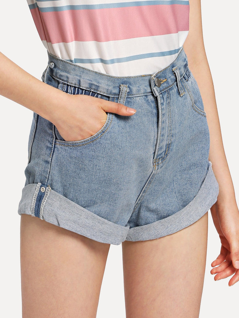 Roll-Up Hem Denim Shorts