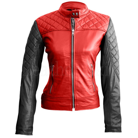 Women Blue Red Heart Leather Jacket.