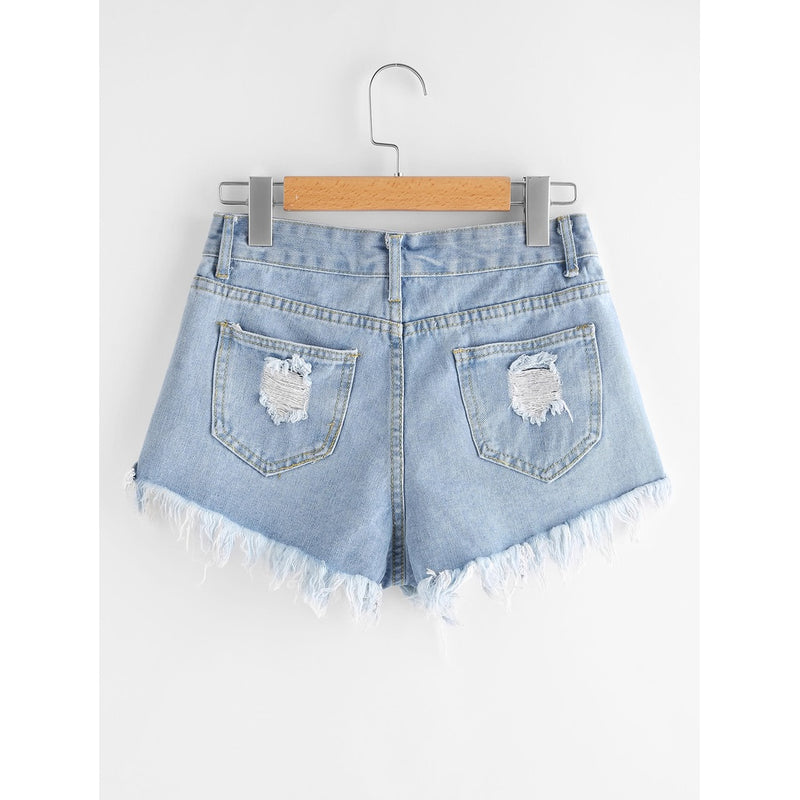 Destroyed Fray Hem Denim Shorts.