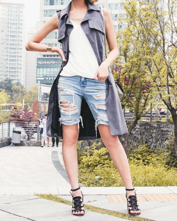 Mystery Distressed Cut Off Knee Jean Shorts!! Super Cool:All Sizes & Washes!