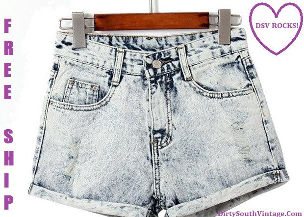 Super Cute High Waisted Grey Stone Wash Trendy Denim Shorts!