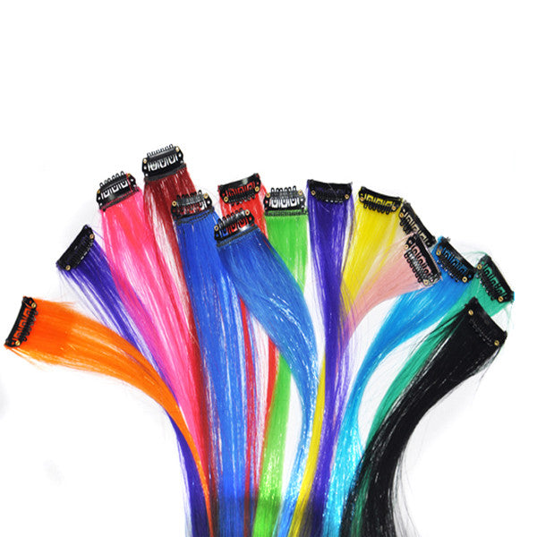 Long Synthetic Hair Clips-Cool Colors-Super Spring & Summer Vibe!!