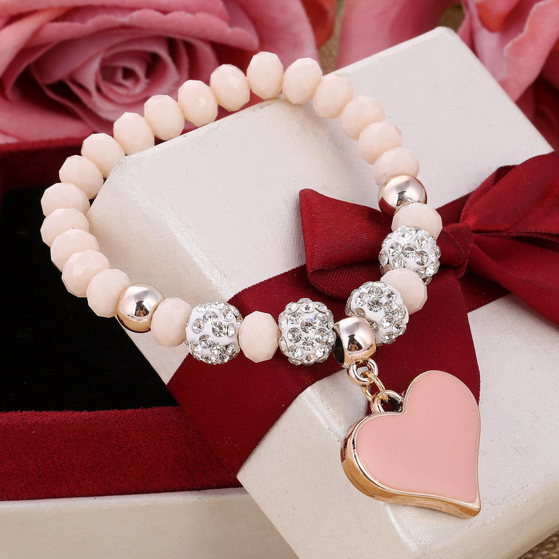 Cute Pretty & Classic, Beaded Heart Bracelet.