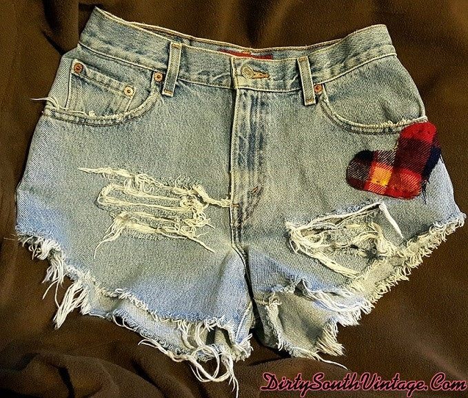 Mystery Handmade Distressed Flannel Heart Patch Shorts, All Sizes! Get Your Heart ON!!