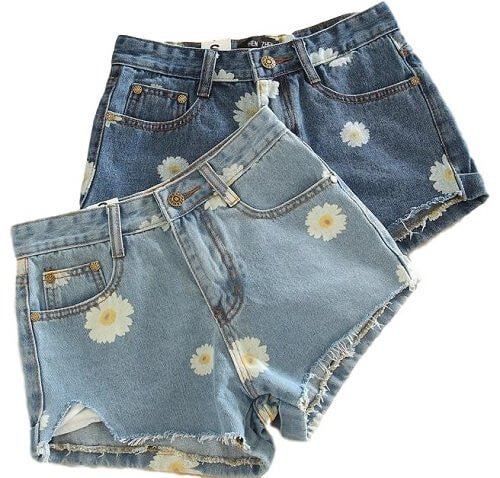 🌼Flower High Waisted Shorts, All Sizes, Light & Dark Wash