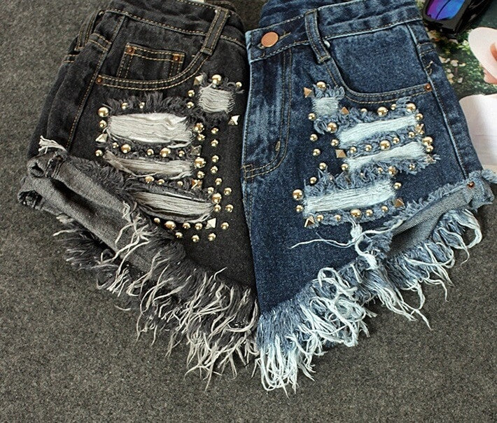 Denim Studded & Sexy, High Waist Shorts, All Sizes