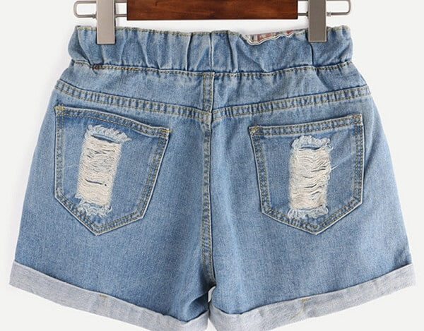 High Waisted Drawstring Shorts, Distressed & Super Cute! All Sizes