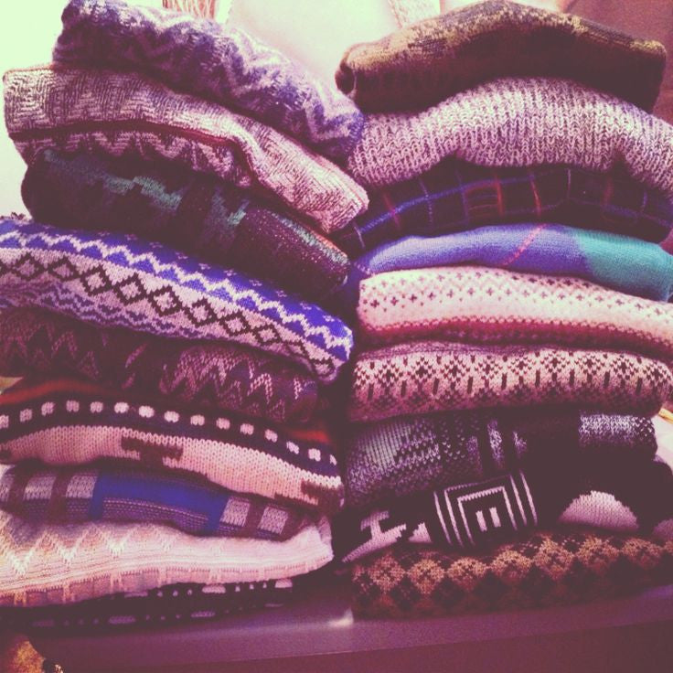 Over-sized Mystery Sweaters: All Hipster Colors - All Grunge Patterns.