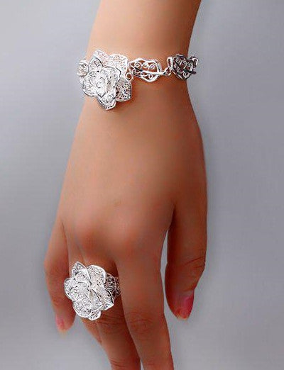 Womans 925 Silver Sterling Bracelet Flower Rose