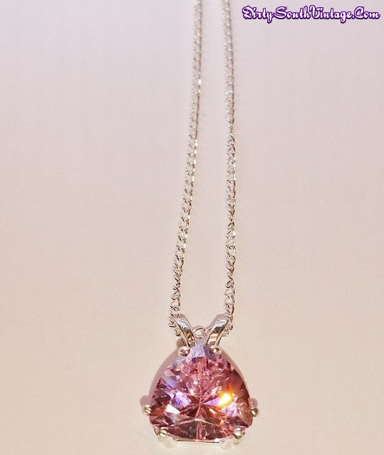 Stunning Necklace Trillion Cut Pink Stone/Sterling Silver Dazzles the eyes!!