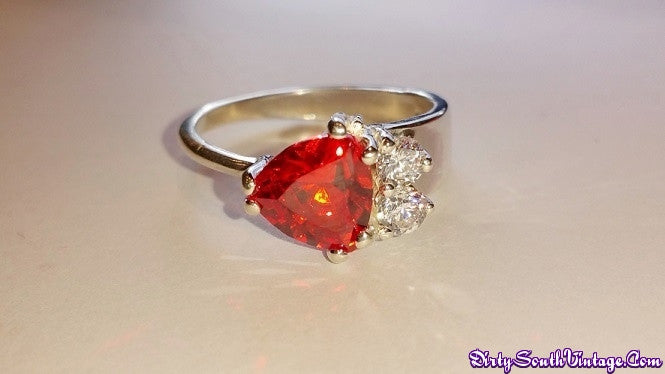 Stunning Ring Trillion Cut Orange Stone/Sterling Silver Dazzles the eyes!! All Sizes Available