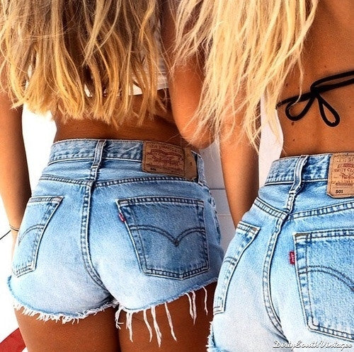 high waist cutoff denim shorts to shop.