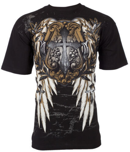 Men's Super Cool Biker Tattoo Graphic Tee Shirt, Size XL