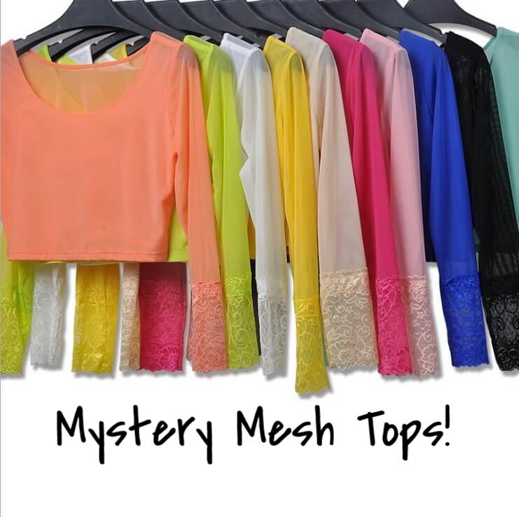 Mystery Mesh Tops, All colors.