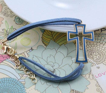 UNISEX BLUE Cool Cross Stylish Sideways Cross Bracelet