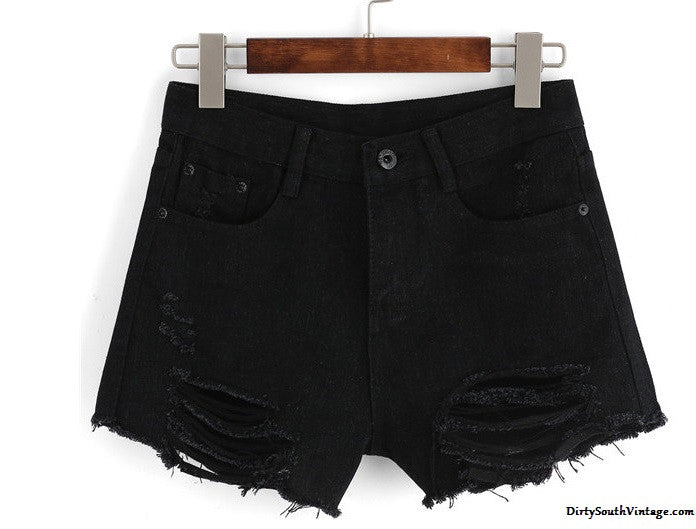 Black High Waist Denim Cut Off Distressed Shorts for Summer!!