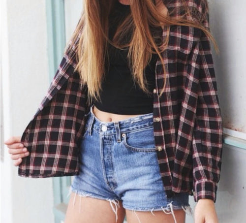 Spring/Summer vintage-inspired 2 piece outfit! Shorts & Flannel.