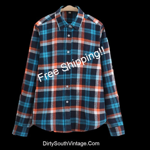 Blue Multi Color Flannel Shirts For All Seasons!! All Sizes- For the Hipster in you!!
