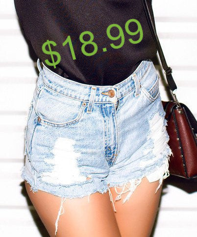 18.99 SALE-Mystery DISTRESSED High Waisted Shorts, Sexy Denim Cutoffs