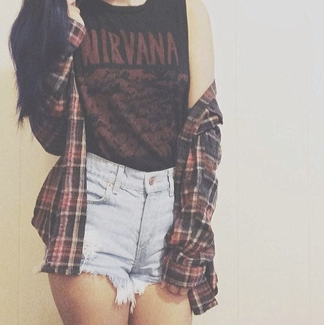 Mystery Hipster Grunge Outfit: High Waisted Shorts & Flannel Shirt & Tee- All Sizes.