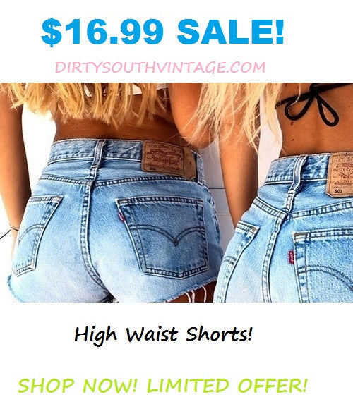High or Low Waisted Shorts, Mystery Distressed Denim Cutoffs, All Sizes.