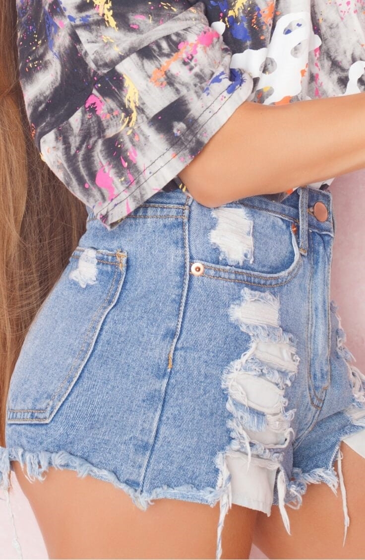 Mystery High Waisted Shorts, Distressed Denim Cutoffs, All Sizes.