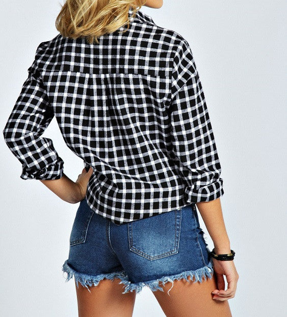 Mystery Hipster Outfit: High Waisted Shorts & Flannel Shirt - All Sizes