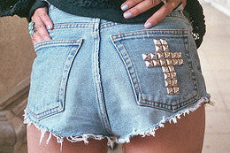Mystery Back Pocket Cross DISTRESSED High Waisted Shorts Studded Shorts - All Sizes