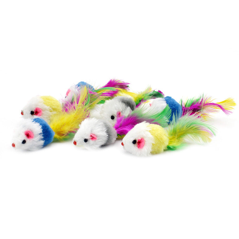 12pcs/pack Colorful Feather Cat Toys False Mouse Kitten Cat Toy With Sound Rattling
