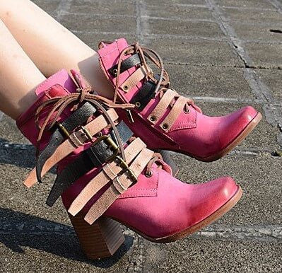 Genuine Leather Pink Boots, Super Hot! All Sizes