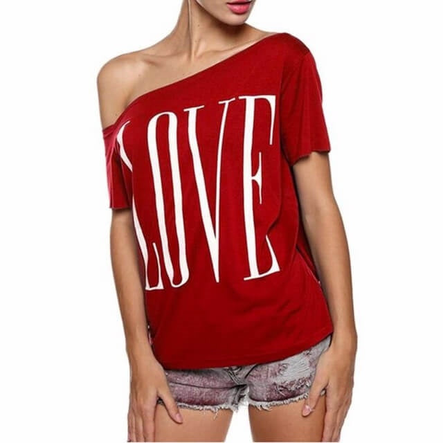 That Love Shirt, Off the Shoulder Red Top, All Sizes